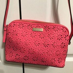 Kate Spade Pink Floral Cutout Crossbody Bag